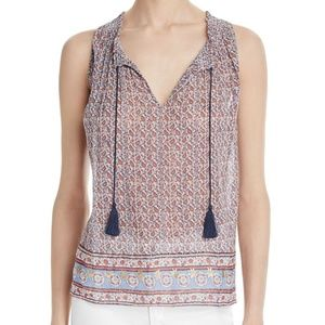 New Joie Alphee Printed Tie Front Sleeveless Top